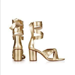 ed094736c6b3 Topshop Shoes - Topshop Gold Ankle Strap Nola Sandals Size 8.5